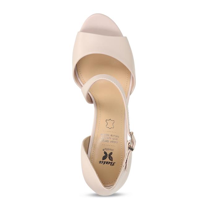 Tělové kožené sandály s asymetrickým páskem insolia, béžová, 764-8600 - 17