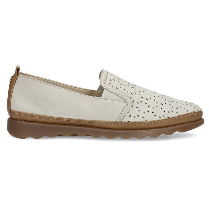 Béžová kožená Slip-on obuv s perforací comfit, béžová, 516-8614 - 19