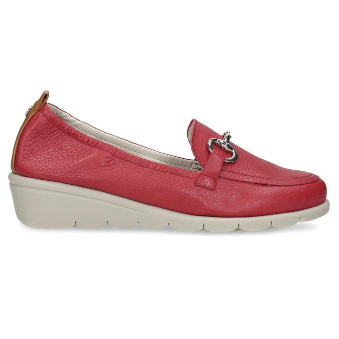 Dámské kožené mokasíny červené comfit, červená, 616-5617 - 19