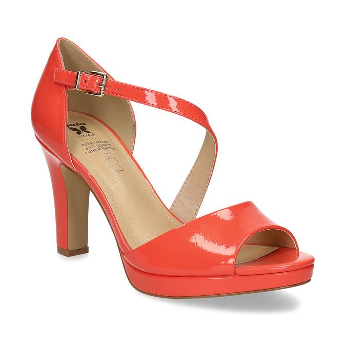 Korálové dámské sandály s asymetrickým páskem insolia, červená, 761-5600 - 13