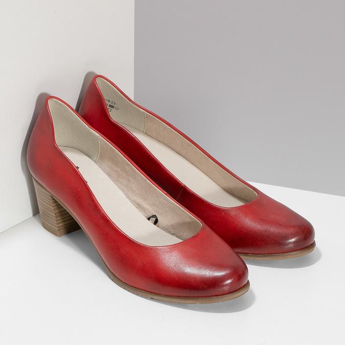 Červené kožené lodičky na stabilním podpatku bata, červená, 624-5649 - 26