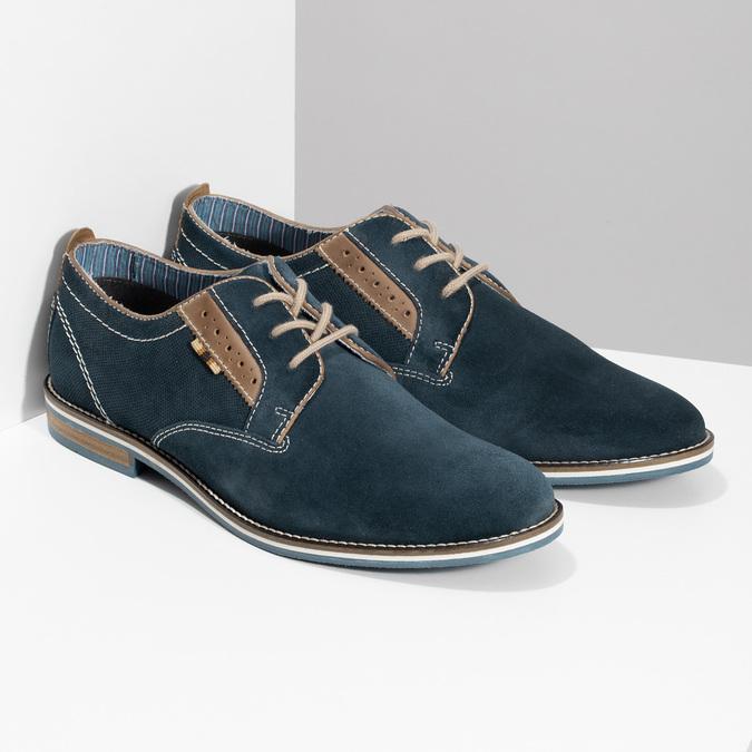 Kožené tmavě modré pánské polobotky bata, modrá, 823-9634 - 26