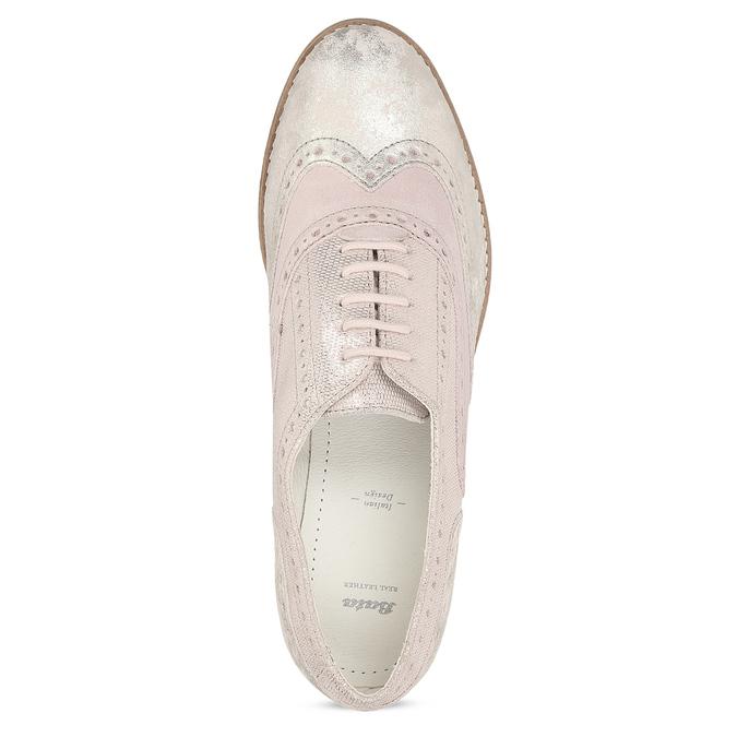 Dámské kožené polobotky růžové bata, růžová, 546-5620 - 17