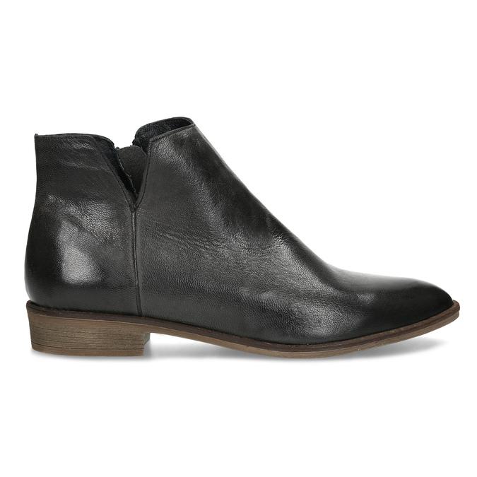 Černé kožené kotníčkové kozačky bata, černá, 526-6666 - 19