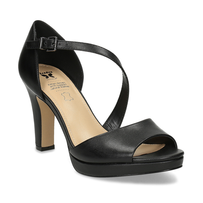 Kožené černé sandály s asymetrickým páskem insolia, černá, 764-6600 - 13