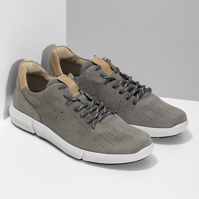 Pánské šedé kožené tenisky s perforací bata-light, šedá, 846-2722 - 26