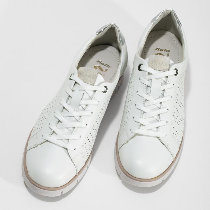 Bílé kožené dámské tenisky s perforací flexible, bílá, 524-1606 - 16