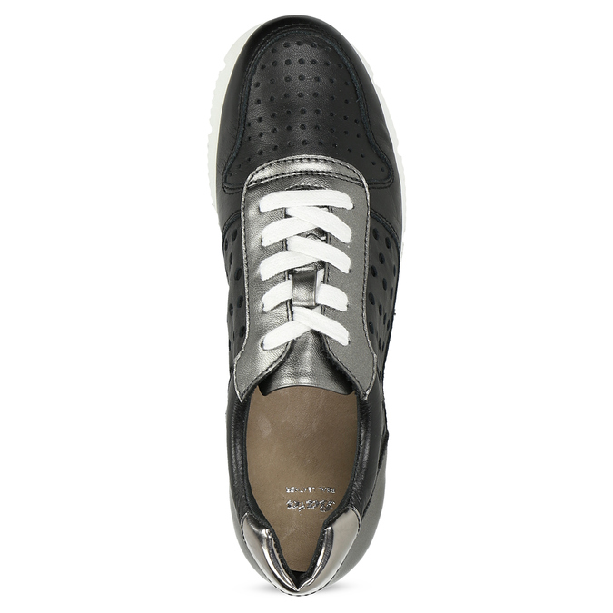 Dámské kožené tenisky černé bata, černá, 544-6600 - 17