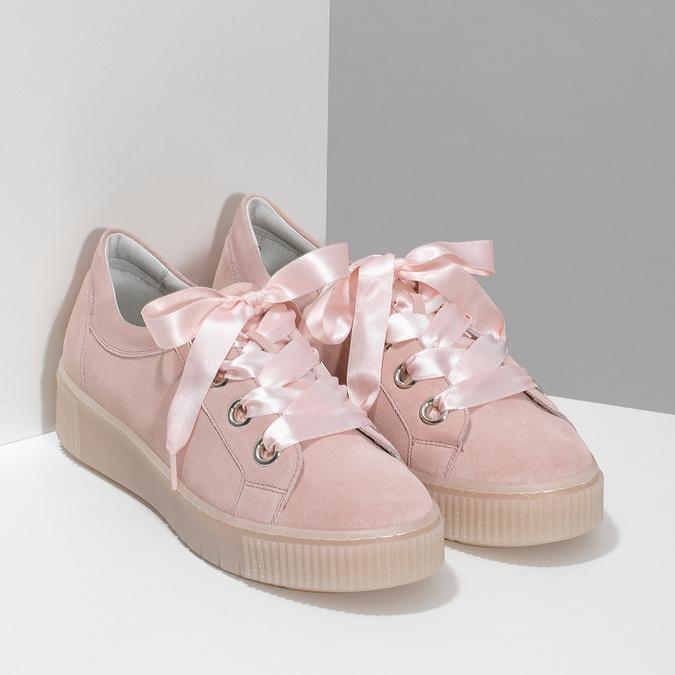 Dámské kožené tenisky s mašlí růžové bata, růžová, 543-5600 - 26