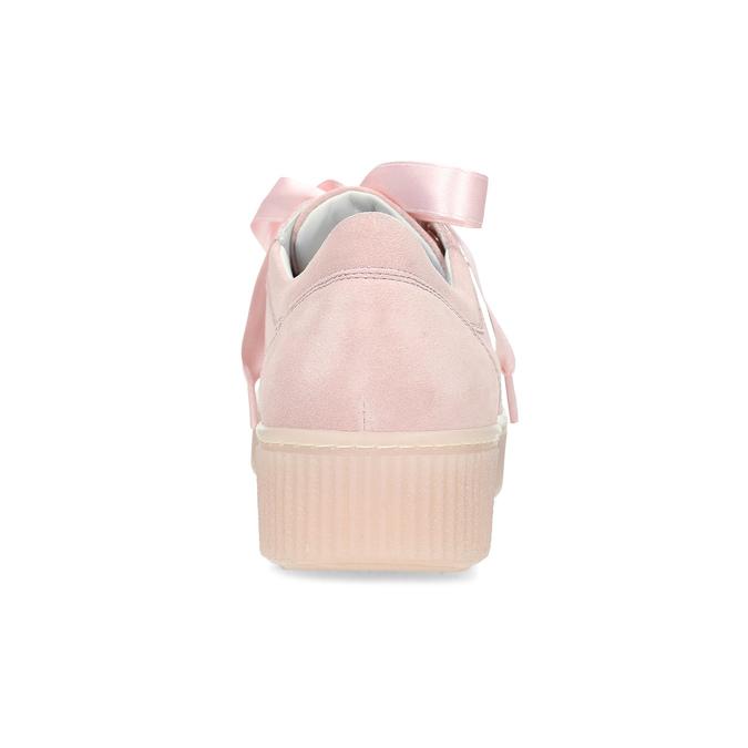 Dámské kožené tenisky s mašlí růžové bata, růžová, 543-5600 - 15