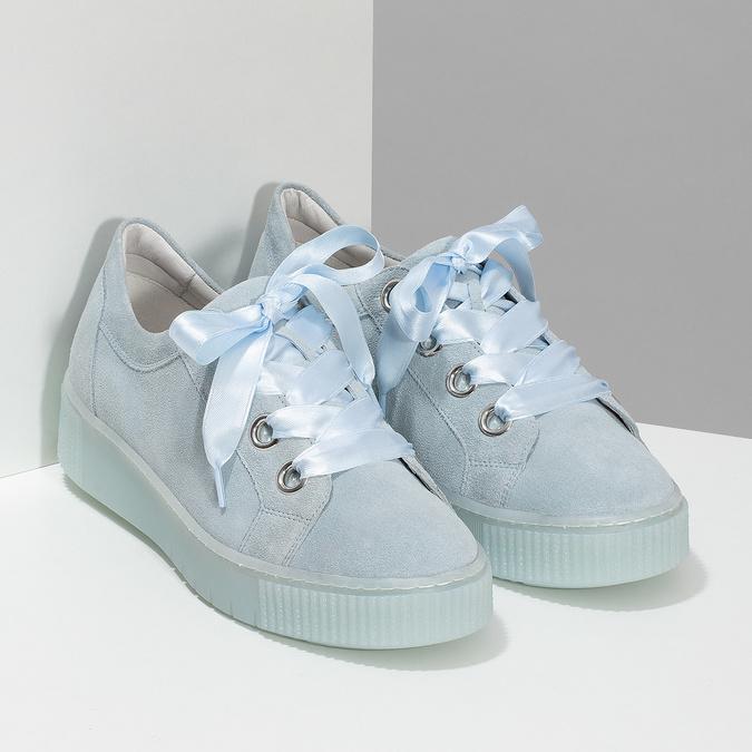 Kožené tenisky s mašlí modré bata, modrá, 543-9600 - 26
