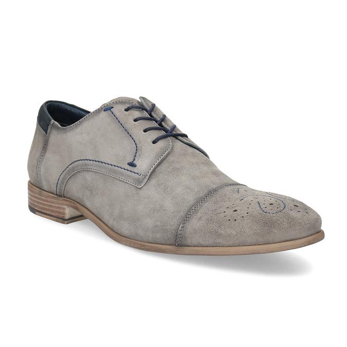 Šedé kožené polobotky s brougue zdobením bata, šedá, 823-2654 - 13