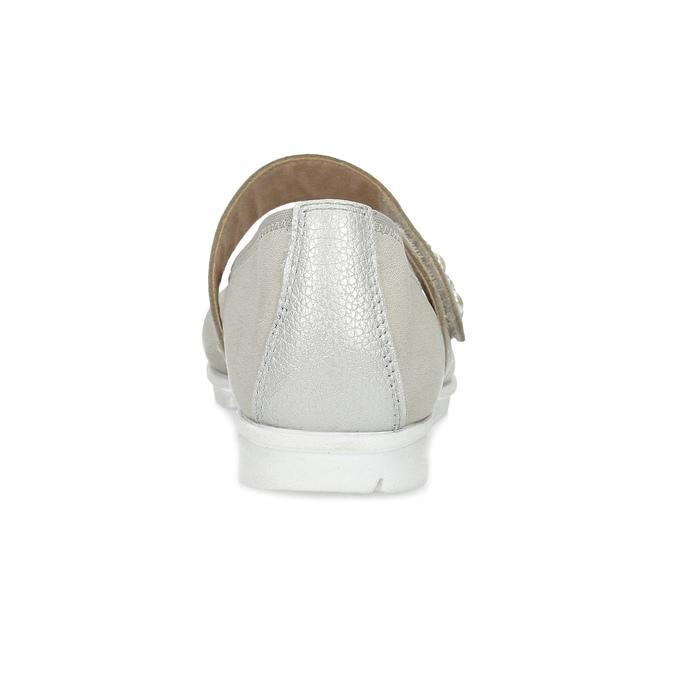 Kožené dámské baleríny šedé bata, šedá, 526-1667 - 15