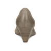 Šedé baleríny na klínku kožené bata, hnědá, 626-2653 - 15