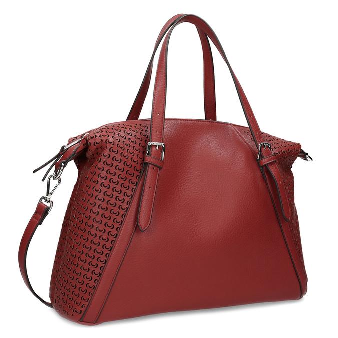 Červená dámská kabelka s perforací bata, červená, 961-5888 - 13