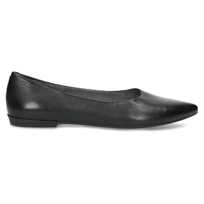Černé kožené baleríny do špičky vagabond, černá, 524-6078 - 19