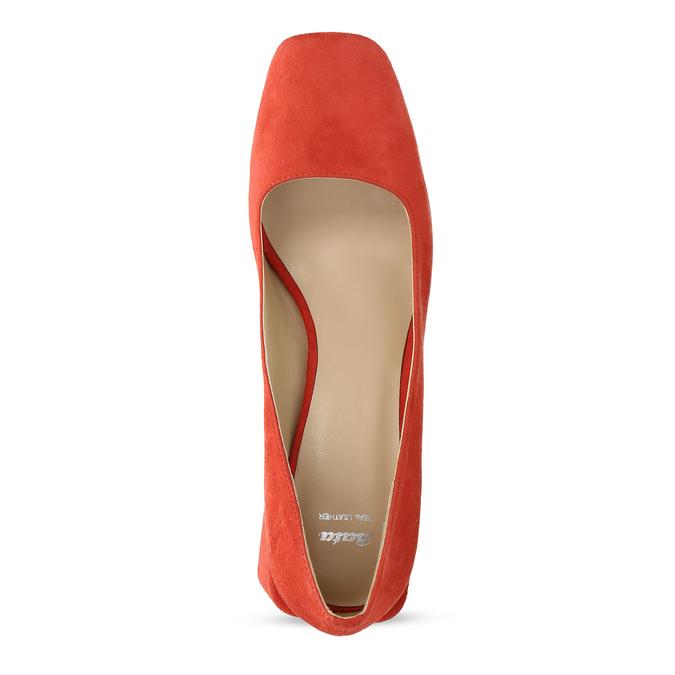 Červené dámské lodičky z broušené kůže bata, červená, 623-5647 - 17