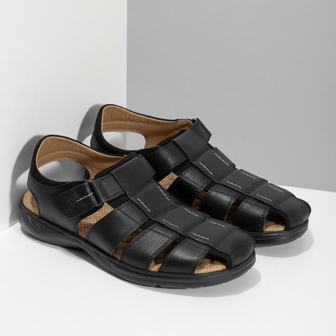 Hnědé sandály pánské fluchos, černá, 864-6635 - 26