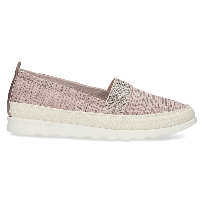 Dámské starorůžové mokasíny s kamínky bata, růžová, 519-5610 - 19