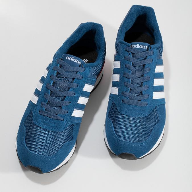 Kožené modré tenisky s červeným detailem adidas, modrá, 803-9302 - 16