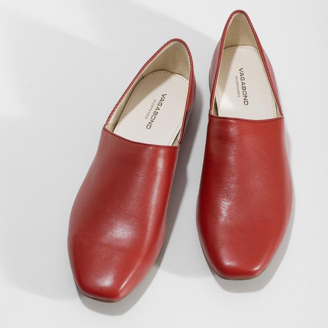 Dámské červené kožené Loafers vagabond, červená, 524-5079 - 16
