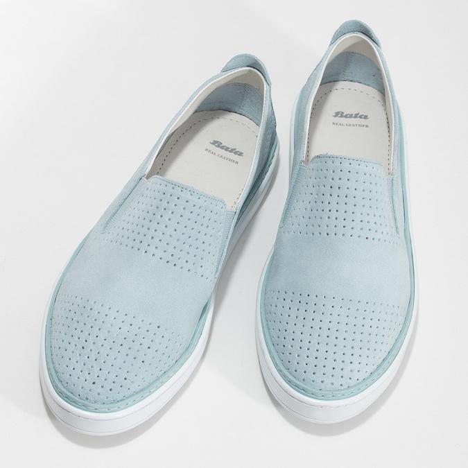 Dámské kožené Slip-on světle modré bata, modrá, 533-9601 - 16