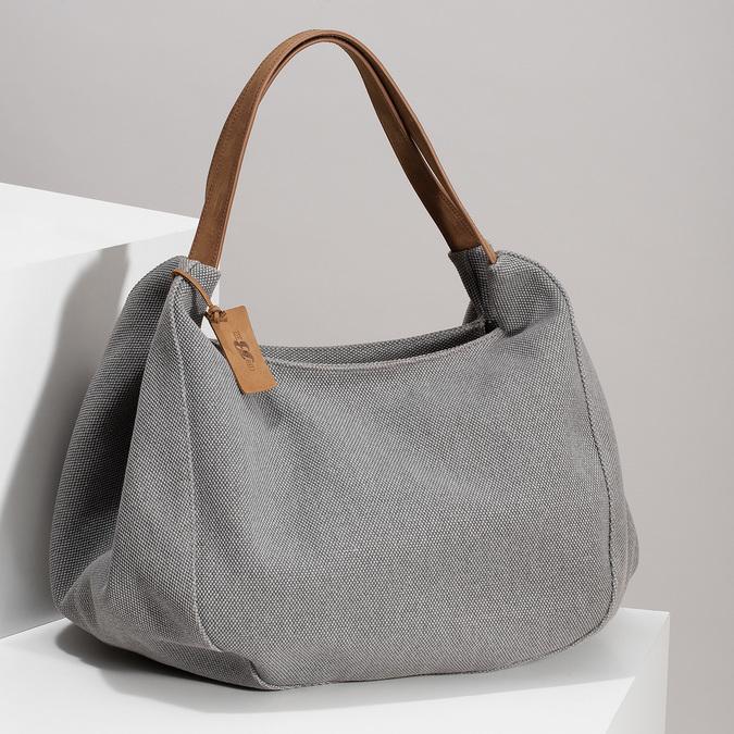 Šedá kabelka s hnědými detaily bata, šedá, 969-2868 - 17