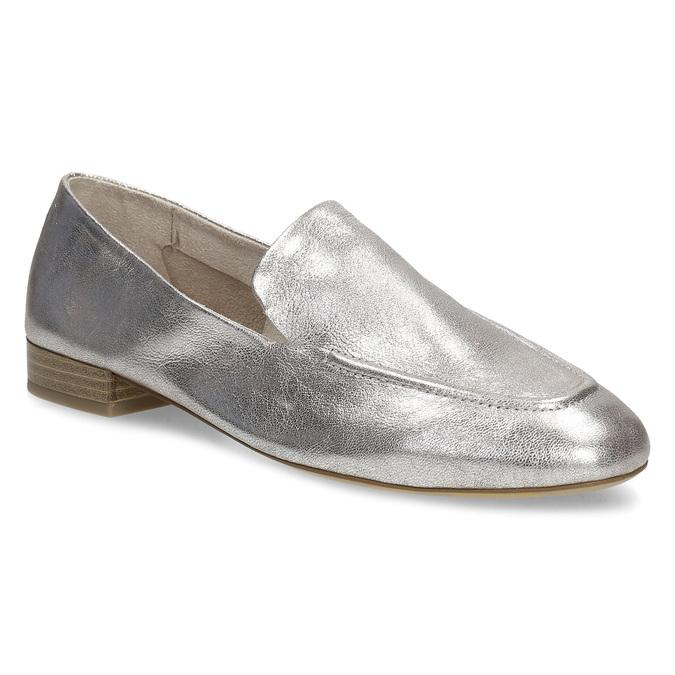 Dámské stříbrné kožené mokasíny bata, stříbrná, 518-5605 - 13