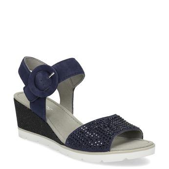 Modré dámské kožené sandály na platformě gabor, modrá, 663-9606 - 13