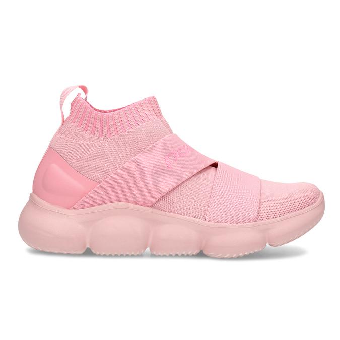 Kotníčkové růžové dámské tenisky z úpletu power, růžová, 509-5237 - 19