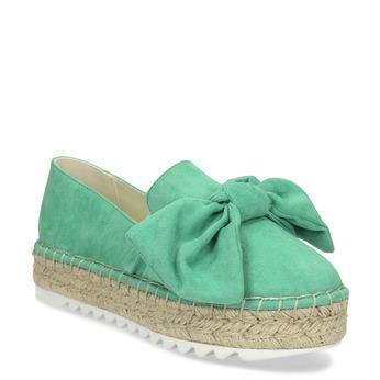 Dámské zelené espadrilky s přírodní flatformou bata, zelená, 559-7607 - 13