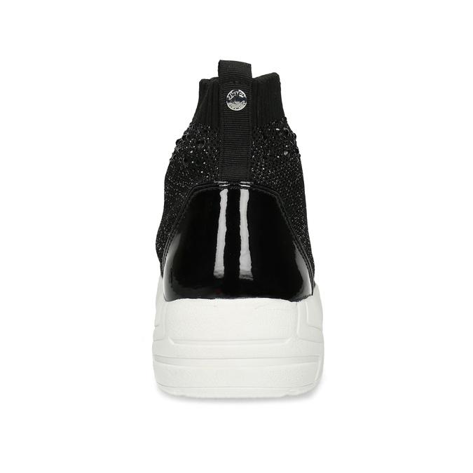 Černá kotníčková dámská obuv s kamínky bata-light, černá, 599-6628 - 15