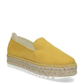 Žluté dámské espadrilky na flatformě bata, žlutá, 559-8605 - 13