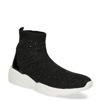 Černá kotníčková dámská obuv s kamínky bata-light, černá, 599-6628 - 13
