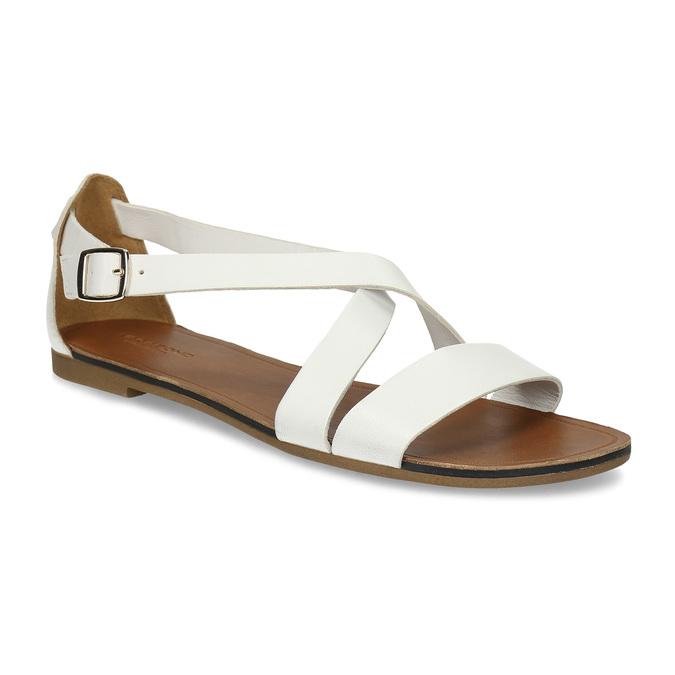 Bílé dámské kožené sandály vagabond, bílá, 564-1028 - 13