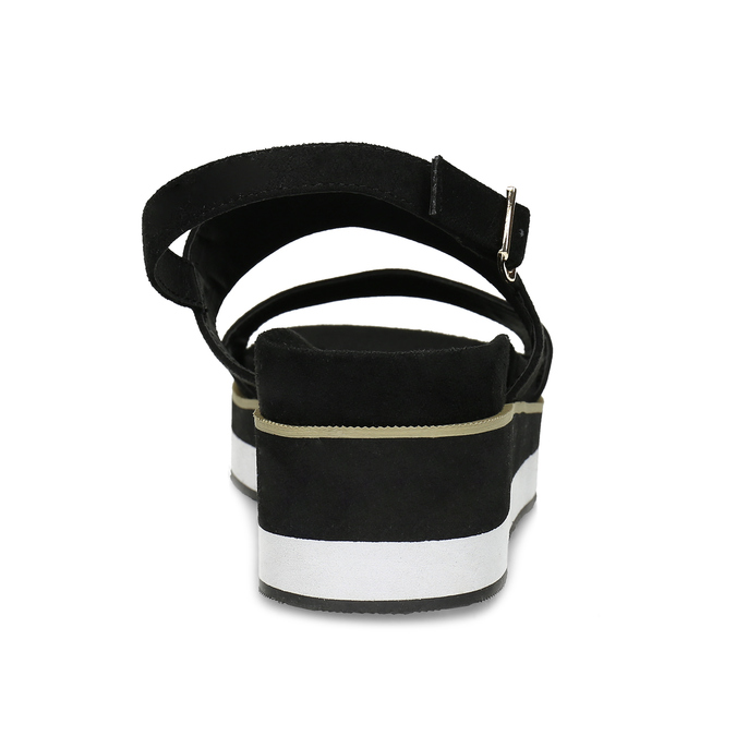 Dámské černé sandály na pruhované podešvi bata, černá, 561-6632 - 15