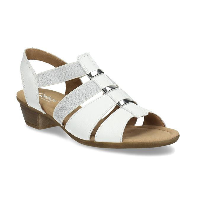 Bílé kožené sandály se stříbrnými detaily gabor, bílá, 664-1605 - 13