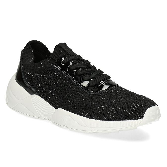Černé dámské tenisky z úpletu bata-light, černá, 549-6615 - 13