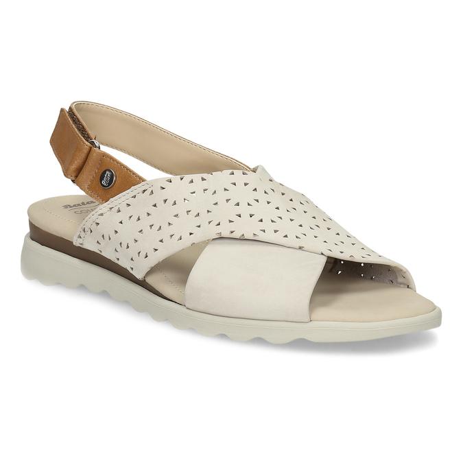 Béžové dámské kožené sandály s perforací comfit, béžová, 566-8610 - 13