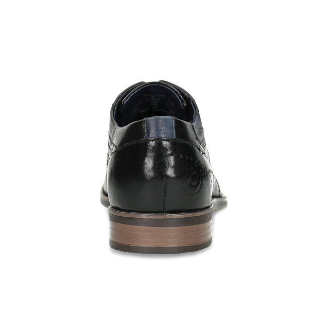 Pánské černé polobotky s Brogue zdobením bugatti, černá, 824-6931 - 15