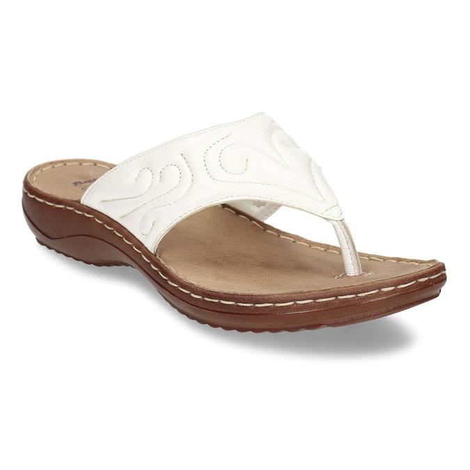 Dámské kožené žabky bílé bata, bílá, 566-1600 - 13