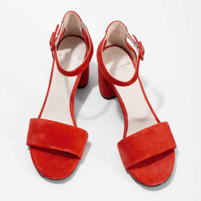Červené kožené sandály na stabilním podpatku vagabond, červená, 623-5023 - 16