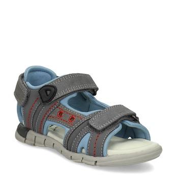 Chlapecké šedé kožené sandály mini-b, šedá, 263-2605 - 13