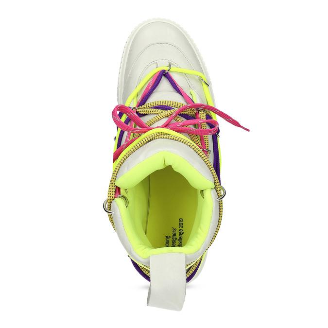 Bílé kotníčkové tenisky s barevnými tkaničkami bata, bílá, 544-1114 - 17