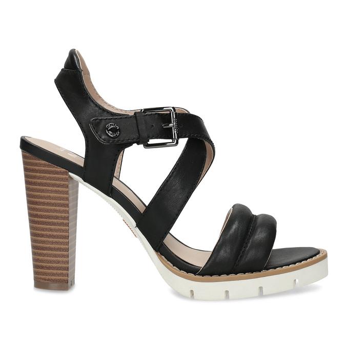 Kožené černé sandály na přírodním podpatku flexible, černá, 763-6631 - 19