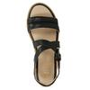 Černé dámské kožené sandály na světlé podešvi flexible, černá, 563-6601 - 17