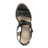 Kožené černé sandály na přírodním podpatku flexible, černá, 763-6631 - 17