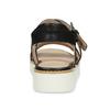 Černé dámské kožené sandály na světlé podešvi flexible, černá, 563-6601 - 15