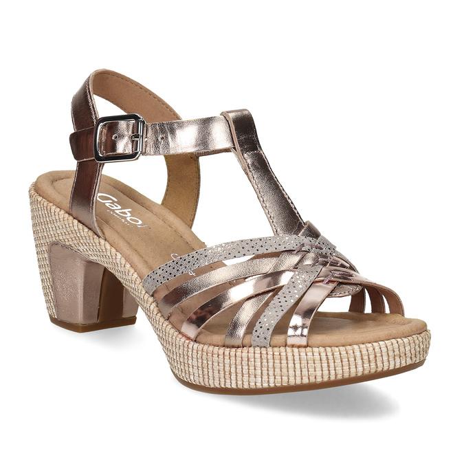 1ee51f1c6f Gabor Kožené dámské sandály s rose gold pásky - Sandály