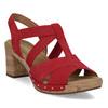 Červené dámské sandály z broušené kůže gabor, červená, 663-5602 - 13
